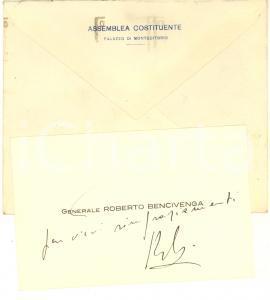 1947 ASSEMBLEA COSTITUENTE ROMA Biglietto da visita Roberto BENCIVENGA Autografo