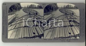 1930 ca USA COLUMBIA RIVER Great chained log rafts *Stereoview KEYSTONE