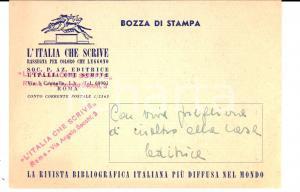 1953 L'ITALIA CHE SCRIVE Cartolina bibliografica - Bozza di stampa recensione