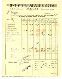 1936 MONTECARLO Hotel MASSENA - Conto della camera *Carta intestata