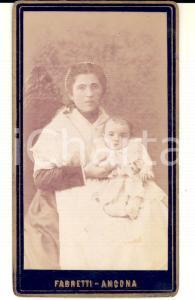 1880 ca ANCONA Ritratto di balia con bambino *Foto Eugenio FABRETTI CDV VINTAGE