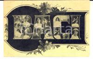 1907 COSTUME Baci - Cartolina ILLUSTRATA CURIOSA Volti di donna FP VG
