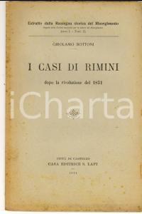 1914 Girolamo BOTTONI I casi di Rimini dopo la rivoluzione del 1831 *AUTOGRAFO