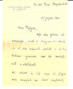1964 ROMA Nicola CILENTO mortificato dal silenzio di un collega *Autografo