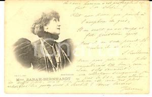 1901 THEATRE Portrait de l'actrice Sarah BERNHARDT *Carte postale VINTAGE