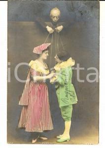 1903 TEATRO MARIONETTE Innamorati come pupazzi *Cartolina colorata VINTAGE FP VG