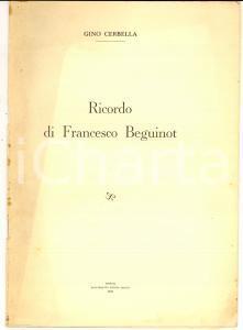 1953 TRIPOLI Gino CERBELLA Ricordo di Francesco BEGUINOT  *Estratto