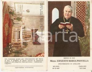 1949 CAGLIARI In memoria di Monsignor Ernesto Maria PIOVELLA *Santino 7x11 cm