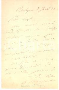 1888 BOLOGNA Condoglianze Angelo MARESCOTTI a Vittorio LUGLI *AUTOGRAFO
