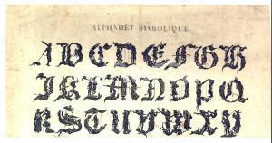 1830 ca ALPHABET DIABOLIQUE Alfabeto diabolico *Stampa 32x16 cm RARE TYPOGRAPHY