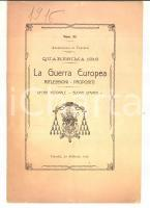 QUARESIMA 1916 Archidiocesi VERCELLI La Guerra Europea: riflessioni - propositi