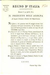 1812 REGNO D'ITALIA NOVARA Te Deum per anniversario incoronazione Napoleone