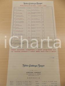 1961 - 1962 METRO GOLDWYN MAYER  Listino produzioni TARZAN Mogambo FRA DIAVOLO