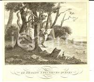 1790 ca LA FONTAINE Fables - Le Dragon a plusieurs queues *Gravure STAMPA 19x19