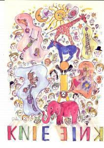 1993 CIRCUS KNIE Tournée SVIZZERA *Manifesto ill. Dimitri 21x30 cm