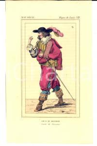 1852 REGNE DE LOUIS XIII Costume français - Comte Louis de Bourbon *Gravure