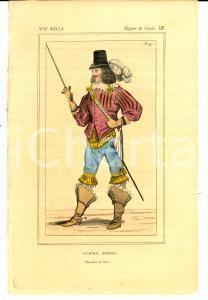 1852 REGNE DE LOUIS XIII Costume français - Chevalier George BROSSIN *Gravure