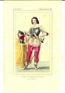 1852 REGNE LOUIS XIV Costume français - Gaston Jean Baptiste de France *Gravure