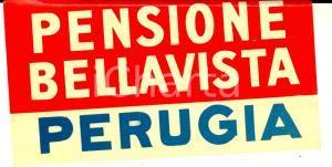1930 ca PERUGIA - Pensione BELLAVISTA *Etichetta pubblicitaria VINTAGE 12x6 cm