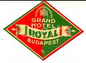 1940 ca BUDAPEST Grand Hotel ROYAL *Etichetta pubblicitaria VINTAGE 8x8 cm