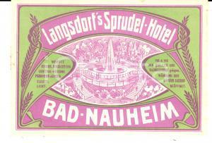1910 ca BAD NAUHEIM - LANGDORF'S SPRUDEL Hotel *Etichetta pubblicitaria 14x10 cm