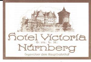 1920 ca NORIMBERGA/ NURNBERG Hotel VICTORIA *Etichetta pubblicitaria 11x8 cm