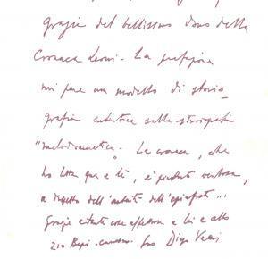 1976 ROMA Diego VALERI ringrazia per un saggio ricevuto *Lettera AUTOGRAFA