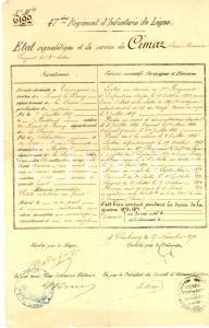 1873 CHERBOURG 47ème Rgt Infanterie - Etat signaletique de Jean Maurice CIMAZ