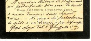 1922 PADOVA Comm. Giacomo LUZZATTO DINA - Biglietto da visita autografo