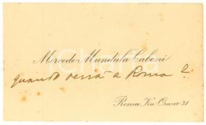 1920 ca ROMA Poetessa Mercede MUNDULA CABONI - Biglietto da visita autografo