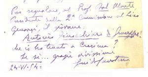 1954 NAPOLI Guido CALCATERRA Cavaliere Gran Croce - Biglietto autografo