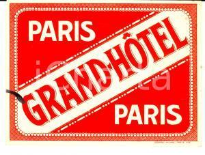 1920 ca PARIS - GRAND-HOTEL *Etichetta pubblicitaria VINTAGE 15x12 cm