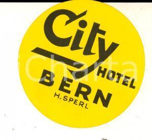 1940 ca BERN (SUISSE) CITY Hotel *Etichetta pubblicitaria VINTAGE 6 cm