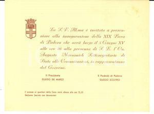 1937 FIERA DI PADOVA Invito inaugurazione - Obbligo uniforme fascista *Biglietto
