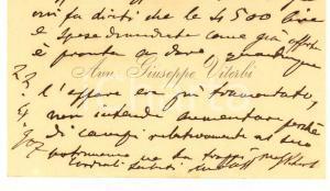 1907 PADOVA Avv. Giuseppe VITERBI - Biglietto da visita con messaggio autografo