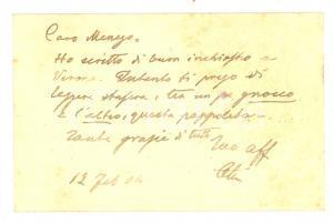 1904 PADOVA Dott. Achille TIAN  - Biglietto da visita con messaggio autografo