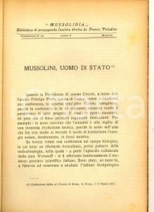 1927 Enrico FERRI Mussolini uomo di Stato *Ed. PALADINO MUSSOLINIA PROPAGANDA