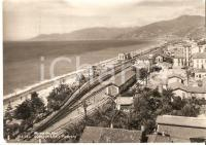 1953 BORDIGHERA (IM) Veduta aerea con stazione ferroviaria *Cartolina FG VG