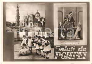 1952 POMPEI Vedutine con orfanelle della Santissima Vergine *Cartolina FG VG