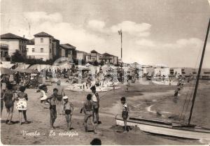 1950 VISERBA DI RIMINI Bagnanti e pedalò in spiaggia *Cartolina FG VG