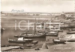 1951 AUGUSTA (SR) Cantieri navali con aeroporto sullo sfondo *Cartolina FG VG