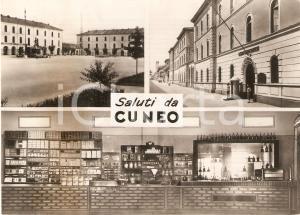 1951 CUNEO Vedutine Centro Addestramento Militare e bancone di un bar *Cartolina