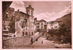 1949 SCANNO Donna con giara in testa attraversa Piazza San Rocco *Cartolina FG