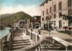 1950 ca PIEVE DI TECO Bambine guardano fontana dei giardini pubblici *Cartolina