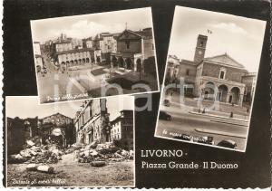 1960 ca LIVORNO La città prima e dopo la Seconda Guerra Mondiale *Cartolina FG