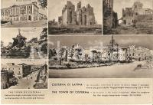 1953 CISTERNA DI LATINA prima e dopo sbarco truppe anglo-americane *Cartolina FG