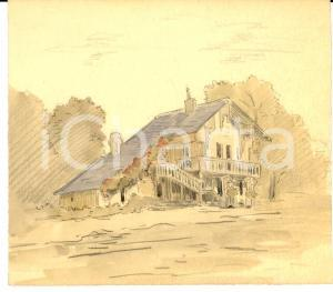 1950 ca ARTE Un solitario villino di campagna *Disegno china e acquerello 19x17