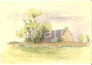 1950 ca ARTE Panorama con dimora di campagna *Disegno china e acquerello 25x18