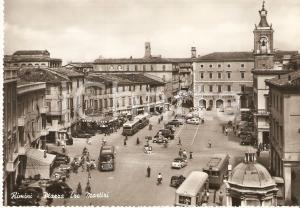 1955 ca RIMINI Autobus in Piazza tre martiri *Cartolina FG NV