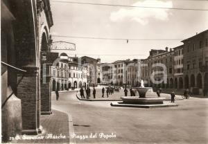 1955 SAN SEVERINO MARCHE Piazza del Popolo e agenzia SINGER *Cartolina FG NV